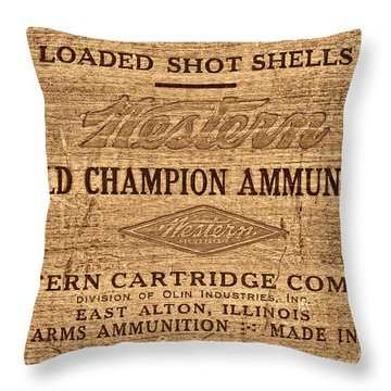 Western Ammunition Box Throw Pillow by American West Legend By Olivier Le Queinec