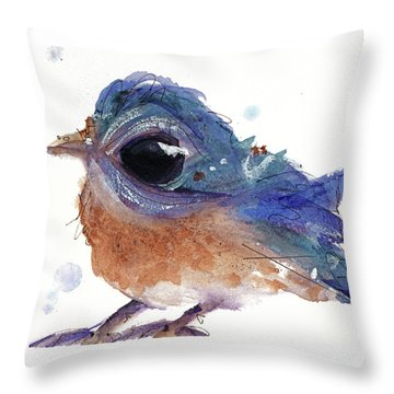 Throw Pillow featuring the painting Western Bluebird by Dawn Derman