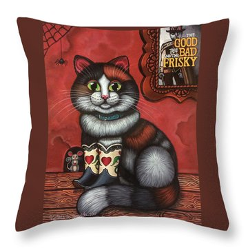 Western Boots Cat Painting Throw Pillow