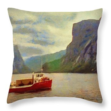 Western Brook Pond Throw Pillow by Jeff Kolker