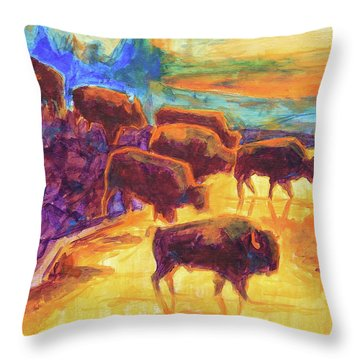 Western Buffalo Art Bison Creek Sunset Reflections Painting T Bertram Poole Throw Pillow