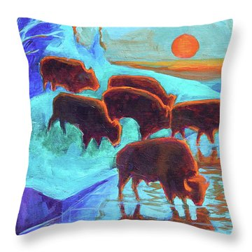 Western Buffalo Art Six Bison At Sunset Turquoise Painting Bertram Poole Throw Pillow