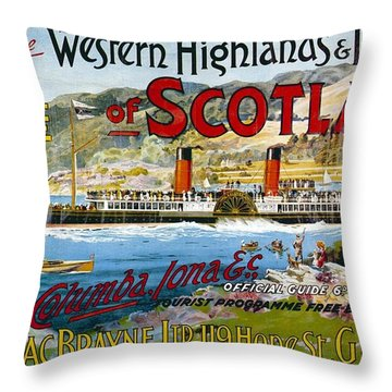 Western Highlands And Islands Of Scotland - Steamship - Retro Travel Poster - Vintage Poster Throw Pillow