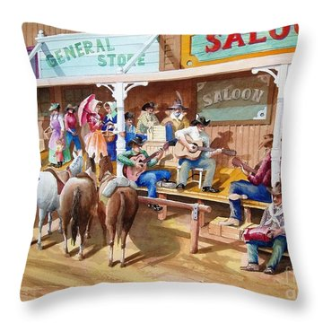 Western Jam Session Throw Pillow by Charles Hetenyi