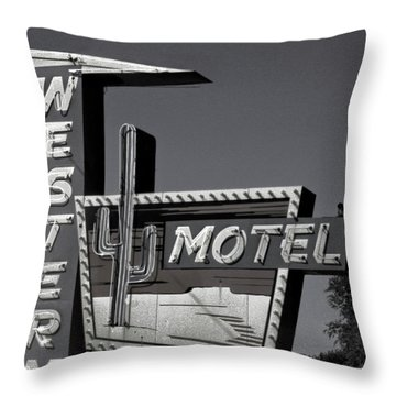 Throw Pillow featuring the photograph Western Motel In Black And White by Matthew Bamberg