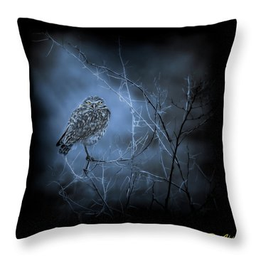 Throw Pillow featuring the photograph Western Owl Gloom by Rikk Flohr