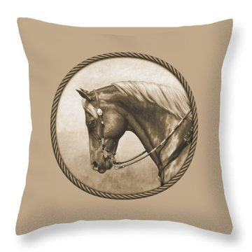 Western Pleasure Horse Phone Case In Sepia Throw Pillow