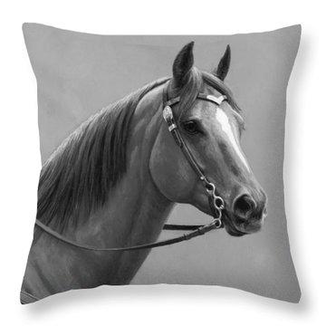 Western Quarter Horse Black And White Throw Pillow