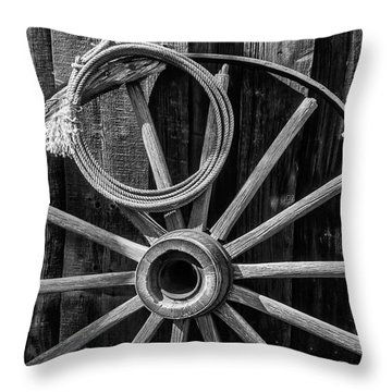 Western Rope And Wooden Wheel In Black And White Throw Pillow