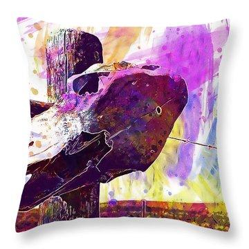 Throw Pillow featuring the digital art Western Skull Farm Trophy Skeleton  by PixBreak Art