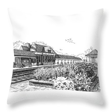 Western Springs Train Station Throw Pillow