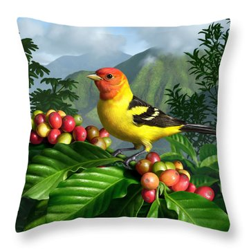 Western Tanager Throw Pillow by Jerry LoFaro