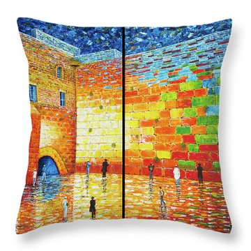 Throw Pillow featuring the painting Western Wall Jerusalem Wailing Wall Acrylic Painting 2 Panels by Georgeta Blanaru