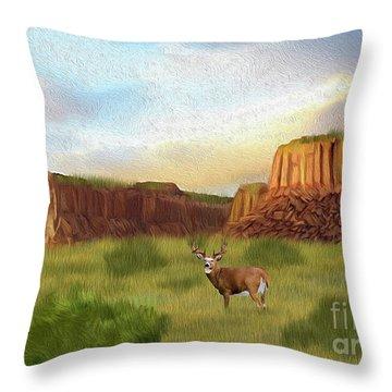 Western Whitetail Deer Throw Pillow