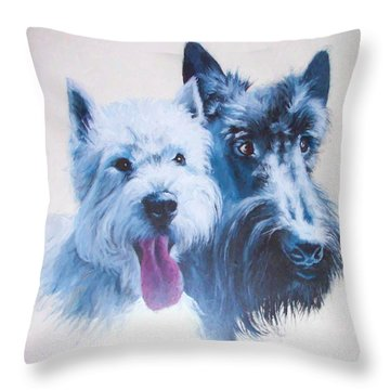 Westie And Scotty Dogs Throw Pillow