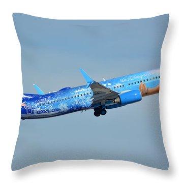 Westjet Boeing 737-8ct C-gwsv Frozen Phoenix Sky Harbor January 29 2016 Throw Pillow by Brian Lockett