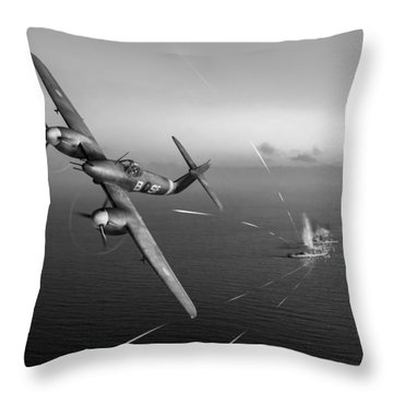 Throw Pillow featuring the photograph Westland Whirlwind Attacking E-boats Black And White Version by Gary Eason