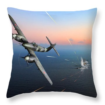 Throw Pillow featuring the photograph Westland Whirlwind Attacking E-boats by Gary Eason