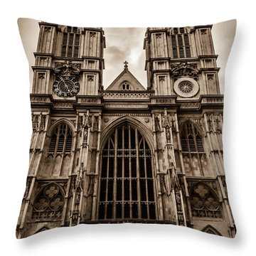 Westminister Abbey Sepia Throw Pillow