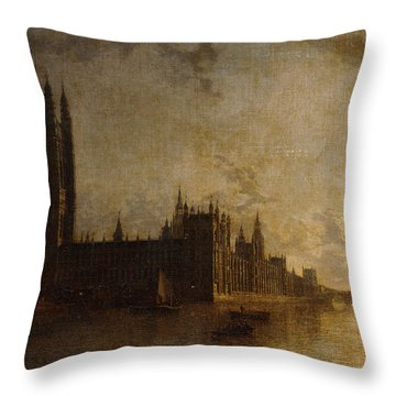 Westminster Abbey, The Houses Of Parliament With The Construction Of Westminster Bridge Throw Pillow
