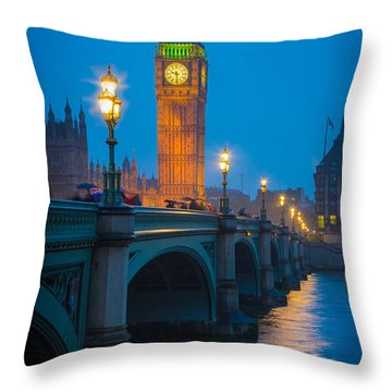 Westminster Bridge At Night Throw Pillow by Inge Johnsson