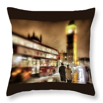 Westminster Bridge In Rain Throw Pillow by Jim Albritton