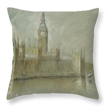 Westminster Palace And Big Ben London Throw Pillow by Juan Bosco