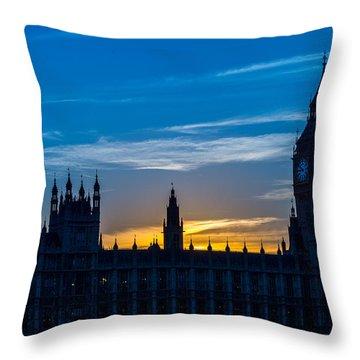 Westminster Parlament In London Golden Hour Throw Pillow