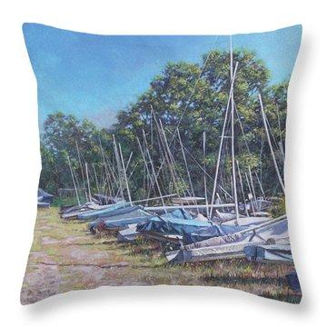 Weston Shore Boats At Yacht Club, Southampton Throw Pillow