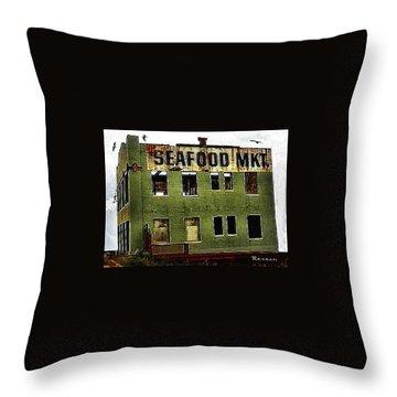 Westport Washington Seafood Market Throw Pillow by Sadie Reneau