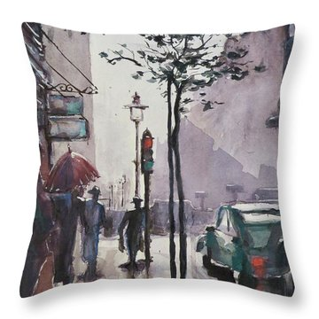 Throw Pillow featuring the painting Wet Afternoon by Geni Gorani