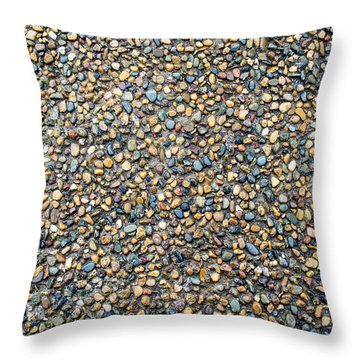 Wet Beach Stones Throw Pillow