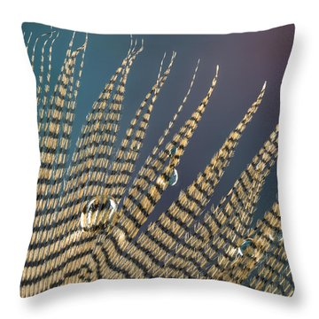 Wet Drop On Wood Duck Feather Throw Pillow