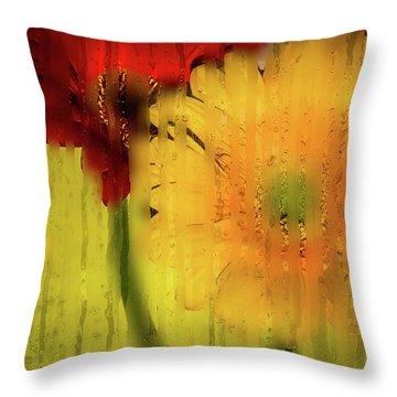 Wet Glass Flowers Throw Pillow