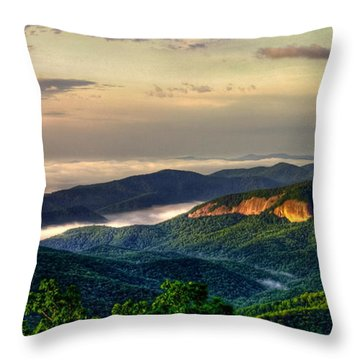 Throw Pillow featuring the photograph Looking Glass Rock Sunrise Between The Clouds Blue Ridge Parkway by Reid Callaway