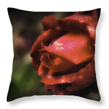Wet Red Rose Throw Pillow