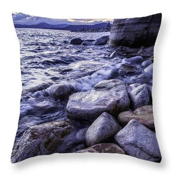 Wet Rocks At Sunset Throw Pillow