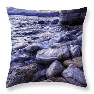 Wet Rocks At Sunset Throw Pillow