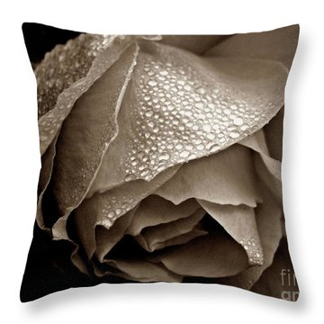 Throw Pillow featuring the photograph Wet Rose In Sepia by Patricia Strand