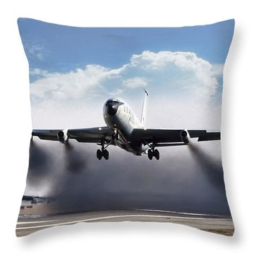 Wet Takeoff Kc-135 Throw Pillow by Peter Chilelli