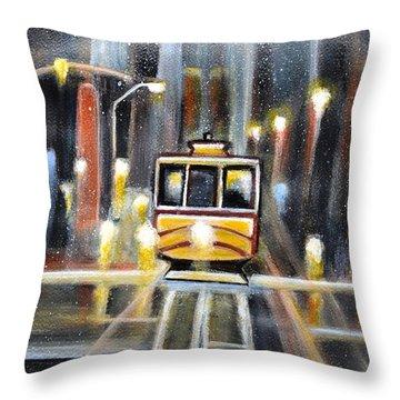 Wet Tram California Throw Pillow