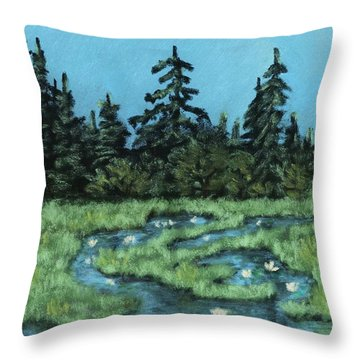 Throw Pillow featuring the painting Wetland - Algonquin Park by Anastasiya Malakhova