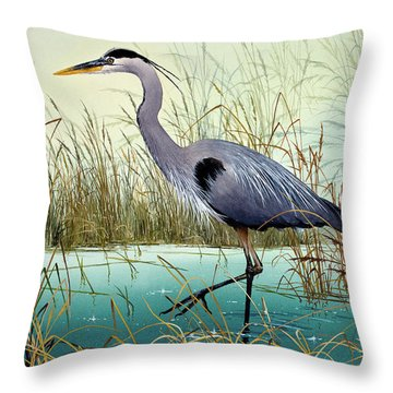 Throw Pillow featuring the painting Wetland Beauty by James Williamson