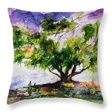 Wetland In The Mist Landscape With Trees And Birds Throw Pillow