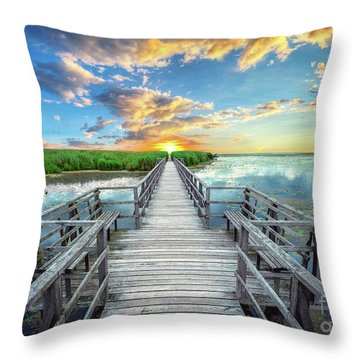 Wetland Marsh Sunrise Treasure Coast Florida Boardwalk A1 Throw Pillow