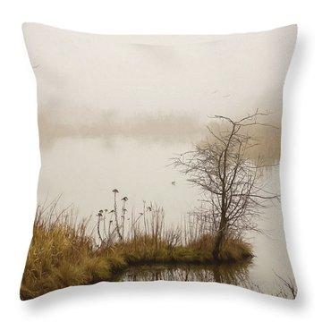 Throw Pillow featuring the painting Wetland Wonders Of Winter by Jordan Blackstone