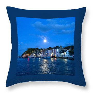 Weymouth Harbour, Full Moon Throw Pillow