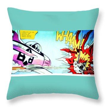 Whaam Throw Pillow by Roy Lichtenstein