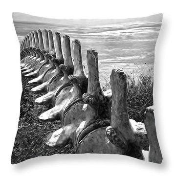 Whale Bones In Black And White Throw Pillow