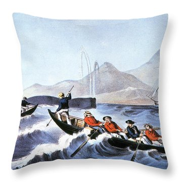 Whale Fishery, Laying On Throw Pillow by Granger